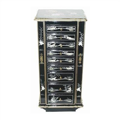 Chinese Birds and Flowers Jewelry Armoire