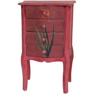 Distressed Red Floral 4 Drawer Nightstand