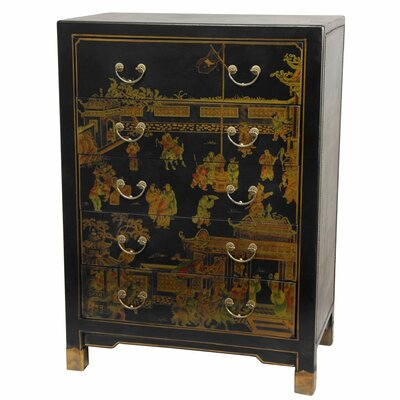 Oriental furniture hand painted 5 drawer chest reviews for Hand painted oriental furniture