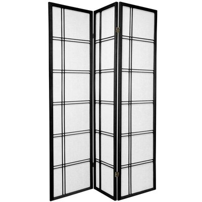 Oriental Furniture Double Sided Double Cross Room Divider in Black