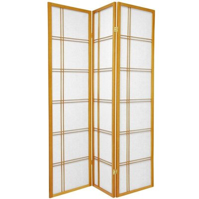 Oriental Furniture Double Sided Double Cross Room Divider in Honey