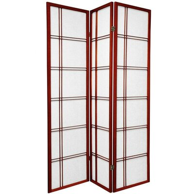 Oriental Furniture Double Cross Shoji Screen with Three Panel in Rosewood