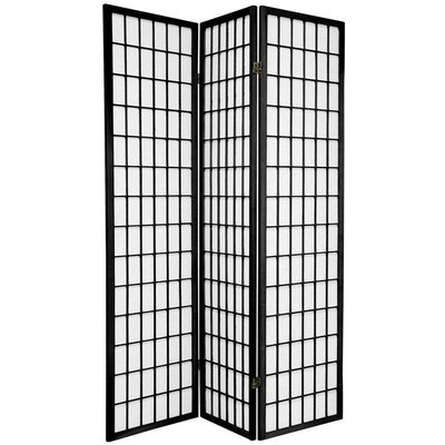 Oriental Furniture Window Pane Room Divider in Black
