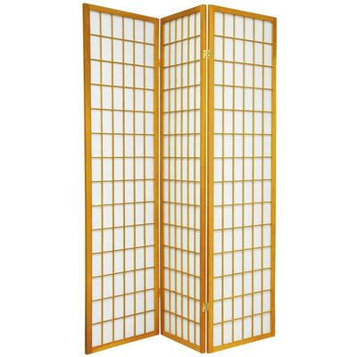 Oriental Furniture Double Sided Window Pane Room Divider in Honey