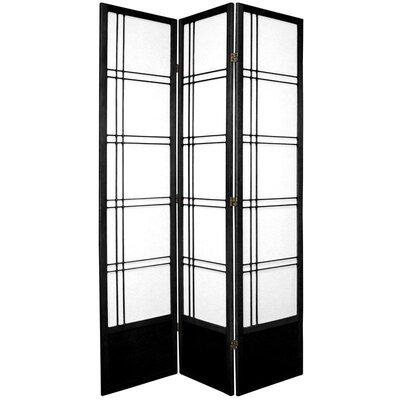 "Oriental Furniture 78"" Double Cross Design Room Divider in Black"