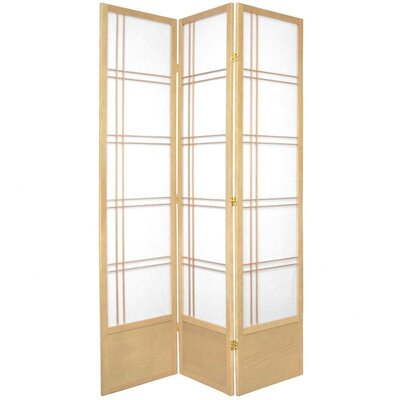 "Oriental Furniture 78"" Double Cross Design Room Divider in Natural"