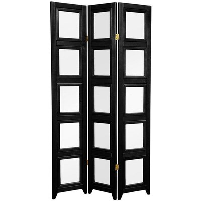 Oriental Furniture Double Sided Photo Display Room Divider in Black