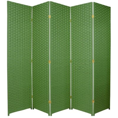 Oriental Furniture Tall Woven Fiber Room Divider in Light Green
