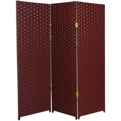 Oriental Furniture Tall Woven Fiber Room Divider in Red and Black