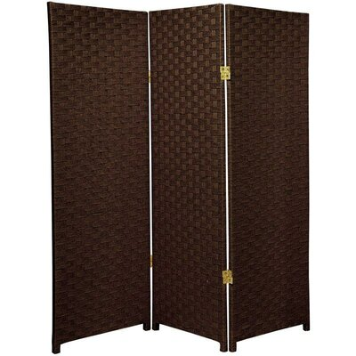 Tall Woven Fiber Room Divider in Dark Mocha
