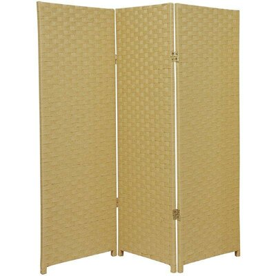 Tall Woven Fiber Room Divider in Dark Beige