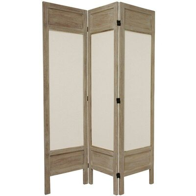 Oriental Furniture 6 Feet Tall Solid Frame Fabric Room Divider in Burnt Grey