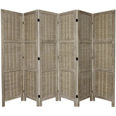 Oriental Furniture 6 Feet Tall Bamboo Matchstick Woven Room Divider in Burnt Grey