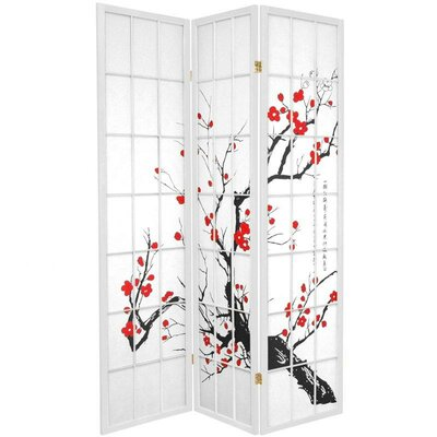 Oriental Furniture Flower Blossom Room Divider in White