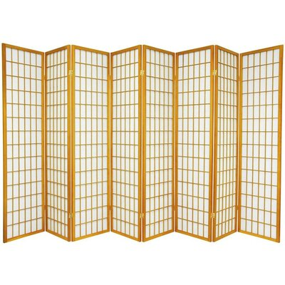 Oriental Furniture Window Pane Shoji 8 Panel Screen in Honey