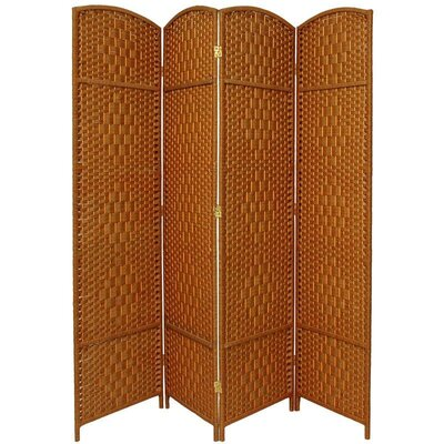 Diamond Weave 4 Panel Room Divider in Dark Beige