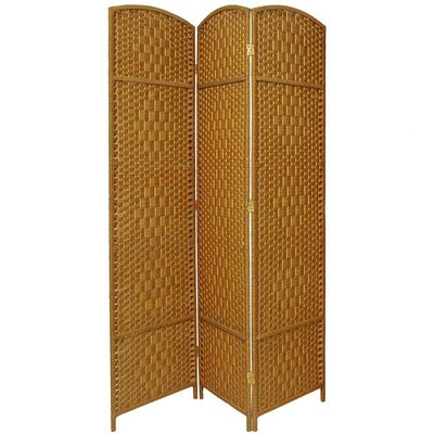 Diamond Weave 3 Panel Room Divider in Light Beige