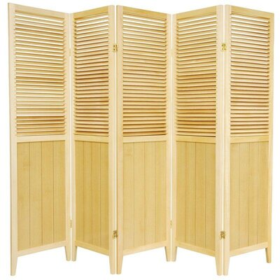 Oriental Furniture Beadboard 5 Panel Room Divider in Natural