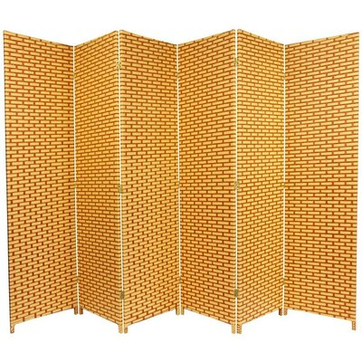 Woven Fiber 6 Panel Room Divider in Natural and Reddish Brown