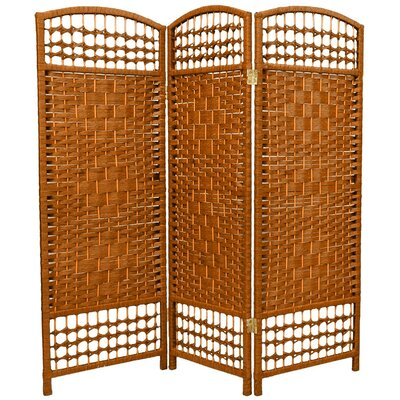 Fiber Weave 3 Panel Room Divider in Dyed Dark Beige