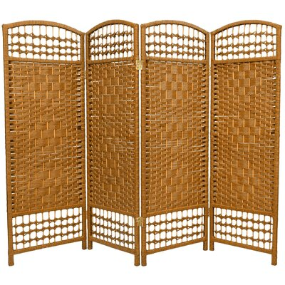 Oriental Furniture Fiber Weave 4 Panel Room Divider in Dyed Light Beige