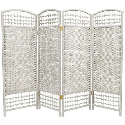 Oriental Furniture Fiber Weave 4 Panel Room Divider