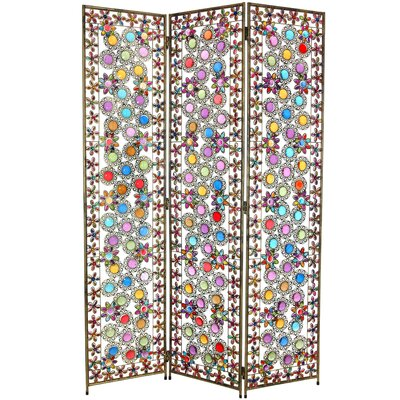 Oriental Furniture Tall Flowers and Beads Room Divider