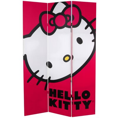 Oriental Furniture Tall Double Sided Hello Kitty Classic Canvas Room Divider