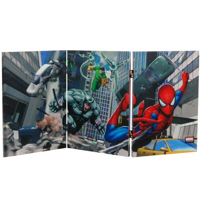 "Oriental Furniture 23.75"" x 47.25"" Tall Double Sided Friendly Neighborhood Spider Man 3 Panel Room Divider"