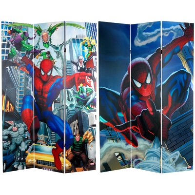 "Oriental Furniture 71"" x 47.25"" Tall Double Sided Spider-Man Rogue's Gallery 3 Panel Room Divider"
