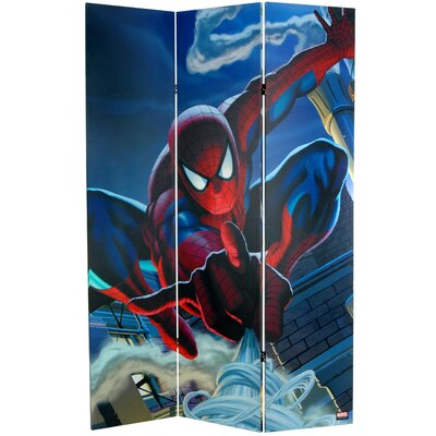 Oriental Furniture Tall Double Sided Spider-Man Rogue's Gallery Canvas Room Divider