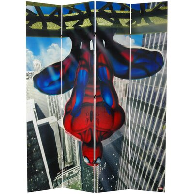 Oriental Furniture Tall Double Sided Spider-Man Wall Crawler Canvas Room Divider