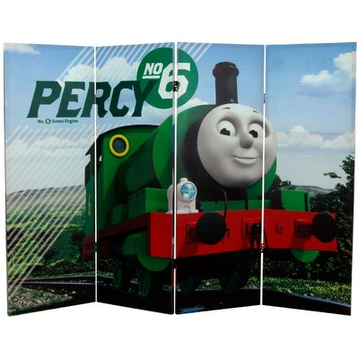 "Oriental Furniture 48"" x 63"" Tall Double Sided Thomas and Percy 4 Panel Room Divider"