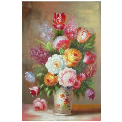 Oriental Furniture Hand Painted Floral Bouquet