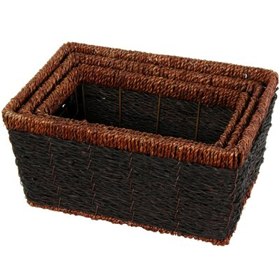 Oriental Furniture Hand Woven Rush Grass Shelf Basket