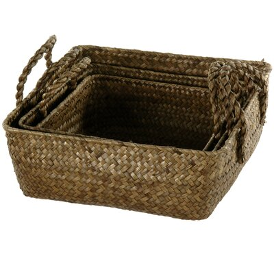Oriental Furniture Hand Plaited Basket Tray with Handles