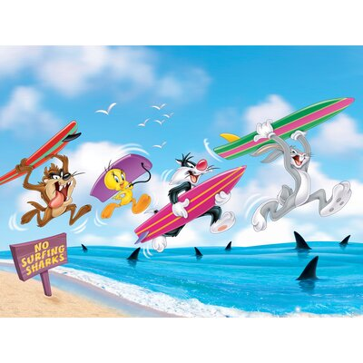 Oriental Furniture Bugs, Taz, Sylvester, and Tweety Surfing Canvas Art