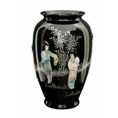 "Oriental Furniture 12"" Tung Chi Vase in Black"