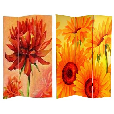 Oriental Furniture 6 Feet Tall Double Sided Poppies and Sunflowers Canvas Room Divider
