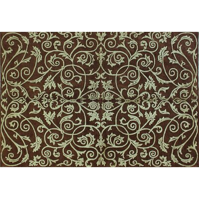Regent Chocolate Damask Scrolls Rug