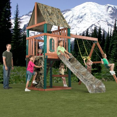 "Swing-n-Slide 132"" x 144"" Real Tree Huntsman Wood Complete Swing Set"