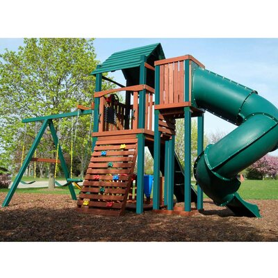 Swing-n-Slide Soaring Summerville Twist Wood Complete Swing Set
