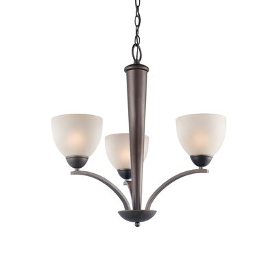 Woodbridge Lighting North Bay 3 Light Chandelier with Etched Glass
