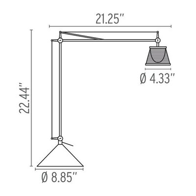 """FLOS Archimoon K 22.2"""" H Table Lamp with Empire Shade"""