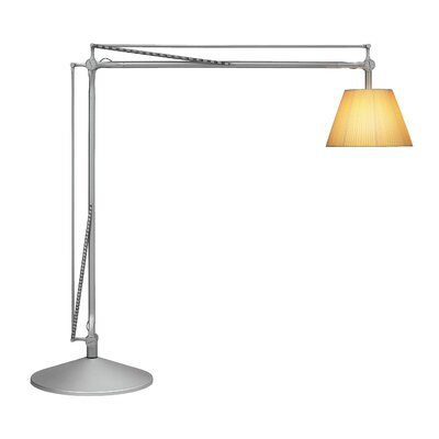 FLOS Super Archimoon Floor Lamp in Fabric / Matte Silver