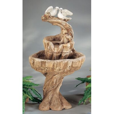 Henri Studio Nature Cast Stone Two Love Birds Fountain