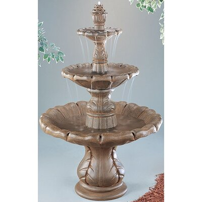 Three-Tier Cast Stone Classical Finial Waterfall Fountain