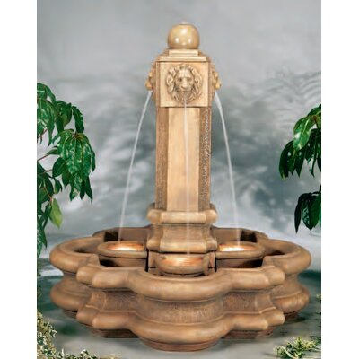Henri Studio Lion Cast Stone Classic Pillar Waterfall Fountain