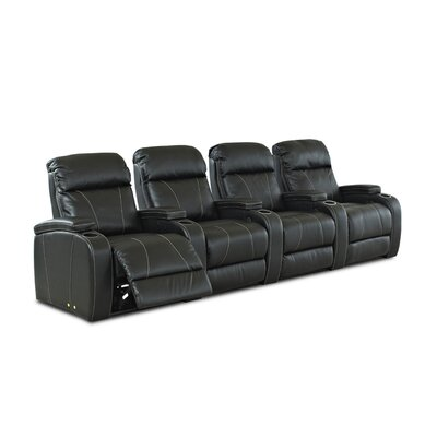 Klaussner Furniture Astor Place Home Theater Bonded Leather Recliner (Row of 4)