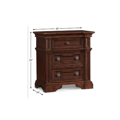 Klaussner Furniture San Marcos 3 Drawer Nightstand
